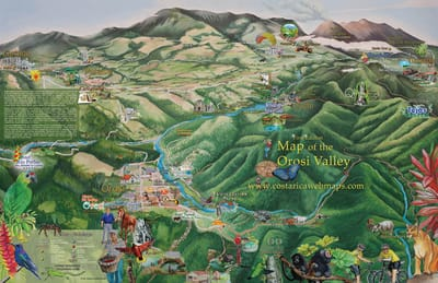 Hand painted map of Orosi Valley Costa Rica with tourist activities.