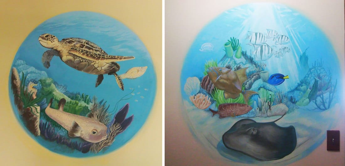 Tropical fish, turtle and coral murals in Bocas del Toro